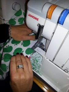 Sewing on the Overlocker.