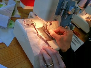 Changing tensions on the overlocker.