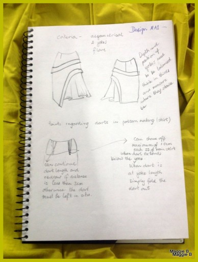 Page 1 of my notes detailing my pattern making process.