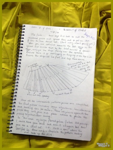 Page 3 of my notes detailing my pattern making process.