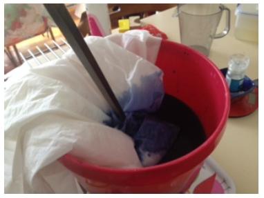 Silk in the dye bath.