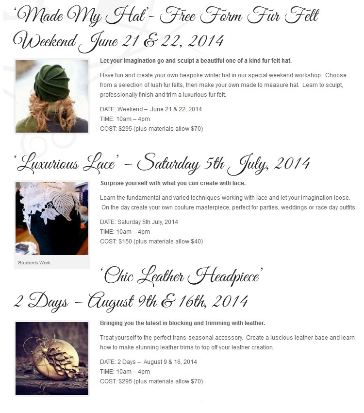 Millinery Workshops - weekends in Kyneton