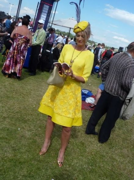 Helen at the Spring Carnival. The bodice is from the adjusted pattern, and Helen used her skirt block to design the lower part of the dress.