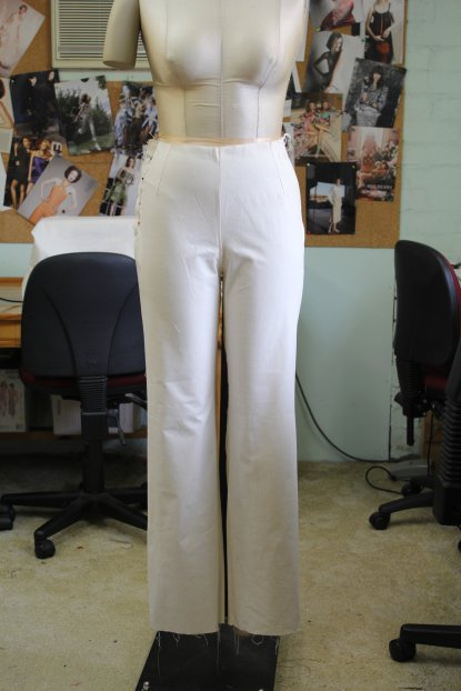 Closer front view of the German Pants Block Draft