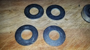washers ready to be stuck together