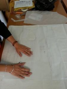Helen working on a design.