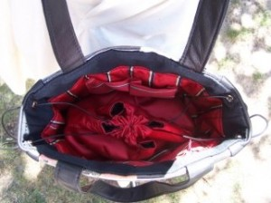 Inside the Kimono bag with its concealed pouch