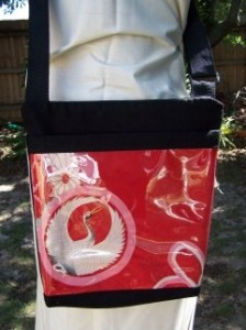 Vintage Kimono Fabric used as the front feature of this bag.