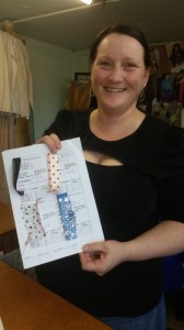 Kim with her tension reference pages.