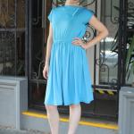 Vintage Knit Dress -Sky Blue
