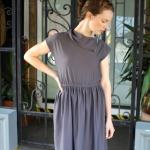 Vintage Knit Dress -Gunmetal Grey